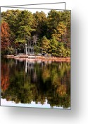 Autumn In The Country Greeting Cards - House on the Lake Greeting Card by John Rizzuto