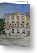 Residential Drawings Greeting Cards - House portrait London SW1 Greeting Card by Rebecca Lilley