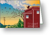 Tree Lines Greeting Cards - House With Satellite Dish Retro Greeting Card by Aloysius Patrimonio