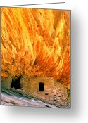Anasazi Greeting Cards - House with the Flaming Roof Greeting Card by Frank Houck