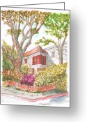 Los Angeles Painting Greeting Cards - House-with-two-trees-holloway-ave-west-hollywood-ca Greeting Card by Carlos G Groppa