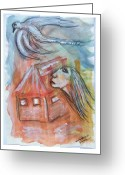 Freedom Painting Greeting Cards - House Without A Door - Haus Ohne Tuer Greeting Card by Mimulux patricia no