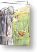 Bird Cards Greeting Cards - House Wrens Greeting Card by Callie Smith