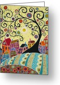 Abstract Flowers Greeting Cards - Houses and a Swirl Tree Greeting Card by Karla Gerard