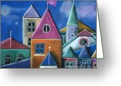 Colours Pastels Greeting Cards - Houses Greeting Card by Caroline Peacock