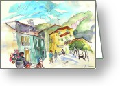 Portugal Art Greeting Cards - Houses in Barca de Alva in Portugal Greeting Card by Miki De Goodaboom