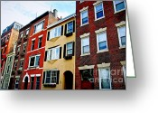 Property Greeting Cards - Houses in Boston Greeting Card by Elena Elisseeva