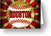 Baseball Print Greeting Cards - Houston Greeting Card by David G Paul
