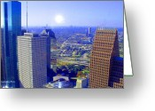 Happy Texas Artist Greeting Cards - Houston Skyline  Greeting Card by Fred Jinkins