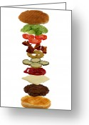 Calories Greeting Cards - How to build a hamburger Greeting Card by Gert Lavsen