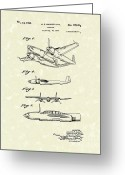 Antique Artwork Greeting Cards - Howard Hughes Airplane 1944 Patent Art  Greeting Card by Prior Art Design