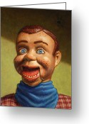Scarf Greeting Cards - Howdy Doody dodged a bullet Greeting Card by James W Johnson