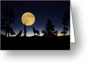 Wolves Mixed Media Greeting Cards - Howling at the Moon Greeting Card by Shane Bechler