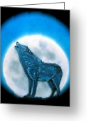 Shaman Drum Greeting Cards - Howling Wolf Greeting Card by Ethan  Foxx