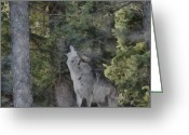 Howling Wolf Greeting Cards - Howling Wolf Painterly Greeting Card by Ernie Echols