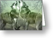 Ym_art Greeting Cards - Howling Wolves Greeting Card by Yvon -aka- Yanieck  Mariani