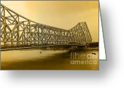 It Is As It Was Greeting Cards - Howrah Bridge Greeting Card by Mukesh Srivastava