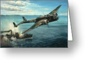 Fighters Painting Greeting Cards - HP Hampden Greeting Card by Colin Parker