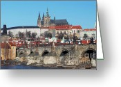 Coronation Greeting Cards - Hradcany - cathedral of St Vitus and Charles bridge Greeting Card by Michal Boubin