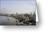 The Bund Greeting Cards - Huangpu River And Bund District By Day Greeting Card by Andrew Rowat