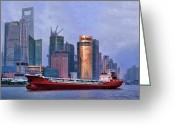 The Bund Greeting Cards - Huangpu River from The Bund Greeting Card by Helaine Cummins