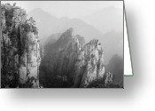 Frozen Greeting Cards - Huangshan Peaks Greeting Card by Vincent Boreux Photography