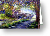 Giclee Pastels Greeting Cards - Huband Bridge Dublin City Greeting Card by John  Nolan