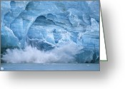 Glacier Greeting Cards - Hubbard Glacier Calving Chunks Of Ice Greeting Card by Michael Melford