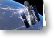 Observatories Greeting Cards - Hubble Space Telescope, Artwork Greeting Card by Detlev Van Ravenswaay