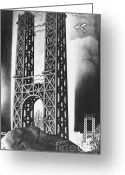 Gw Bridge Greeting Cards - Hudson Bridge Lithograph, 1928 Greeting Card by Photo Researchers