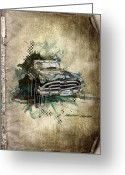 Transportation Mixed Media Greeting Cards - Hudson Hornet Greeting Card by Svetlana Sewell