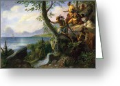 Landing Painting Greeting Cards - Hudson: New York, 1609 Greeting Card by Granger
