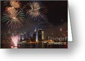 4th July Greeting Cards - Hudson River Fireworks IV Greeting Card by Clarence Holmes