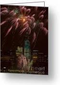 4th July Greeting Cards - Hudson River Fireworks X Greeting Card by Clarence Holmes