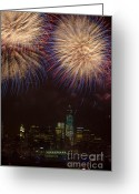 4th Greeting Cards - Hudson River Fireworks XI Greeting Card by Clarence Holmes