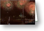 4th Greeting Cards - Hudson River Fireworks XII Greeting Card by Clarence Holmes