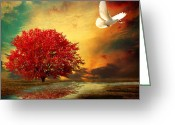 Red Autumn Trees Greeting Cards - Hued Greeting Card by Lourry Legarde