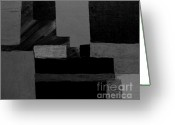 Light Gray Greeting Cards - Hues Of Gray Abstract Greeting Card by Marsha Heiken