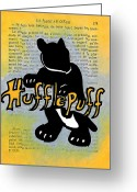 Wizard Drawings Greeting Cards - Hufflepuff Badger Greeting Card by Jera Sky