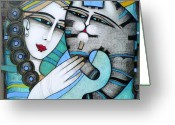 Contemporary Greeting Cards - Hug Greeting Card by Albena Vatcheva