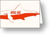 Stencil Greeting Cards - Hug Me Shark Greeting Card by Pixel Chimp