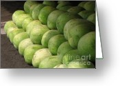 Watermelon Greeting Cards - Huge Watermelons Greeting Card by Yali Shi