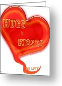True Feelings Greeting Cards - Huges And Kisses Greeting Card by Debra     Vatalaro