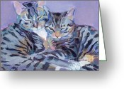 Gray Tabby Greeting Cards - Hugs Purrs and Stripes Greeting Card by Kimberly Santini