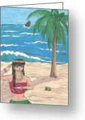 Maiden Drawings Greeting Cards - Hula Elf Girl Greeting Card by Sabrina Bianchi