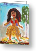 Outsider Art Drawings Greeting Cards - Hula Girl Greeting Card by Mary Carol Williams