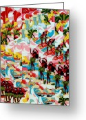 Surfers Tapestries - Textiles Greeting Cards - Hula Hands Greeting Card by Bob Hoffmann