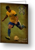 Kicking Football Greeting Cards - Hulk Kicks Givanildo Vieira de Souza Greeting Card by Lee Dos Santos
