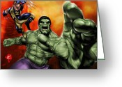 Men Greeting Cards - Hulk Greeting Card by Pete Tapang