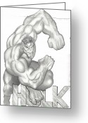 Flyers Drawings Greeting Cards - Hulk Greeting Card by Rick Hill
